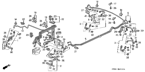 1997 accord EX 2 DOOR 5MT BRAKE LINES (1) diagram