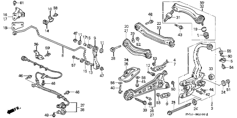 1994 accord LX 2 DOOR 4AT REAR LOWER ARM diagram