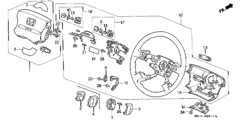1994 accord LX(ABS) 2 DOOR 4AT STEERING WHEEL diagram