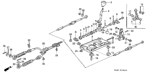 1994 accord DX(ABS) 2 DOOR 5MT SHIFT LEVER diagram