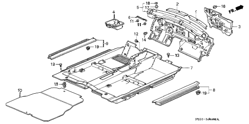 1997 accord LX 2 DOOR 4AT FLOOR MAT diagram