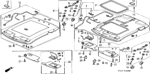 1994 accord LX 2 DOOR 4AT ROOF LINING diagram