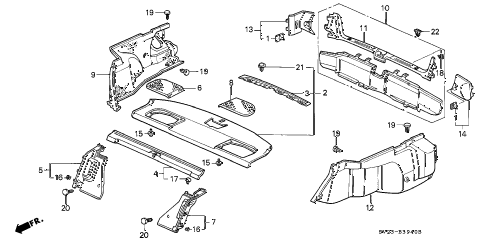 1996 accord LX(ABS) 2 DOOR 5MT REAR TRAY - REAR PANEL diagram