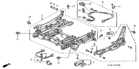 1997 accord EX(LEATHER) 2 DOOR 4AT FRONT SEAT COMPONENTS (3) diagram