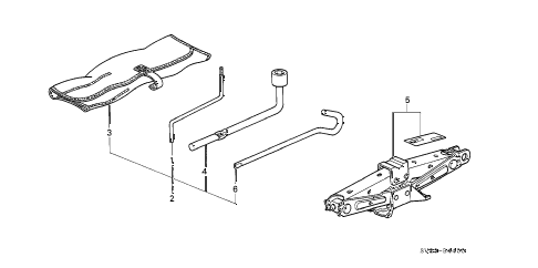 1995 accord EX 2 DOOR 5MT TOOLS - JACK diagram