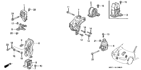 1995 accord LX 2 DOOR 5MT ENGINE MOUNT (1) diagram