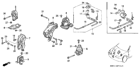 1997 accord EX(LEATHER) 2 DOOR 4AT ENGINE MOUNT (3) diagram