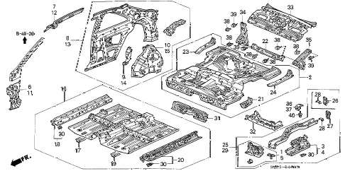 1995 accord EX(LEATHER) 2 DOOR 5MT INNER PANEL diagram