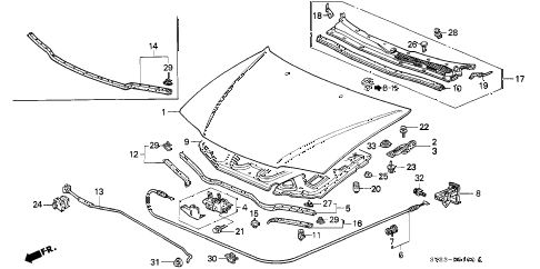 1994 accord EX 2 DOOR 5MT ENGINE HOOD diagram