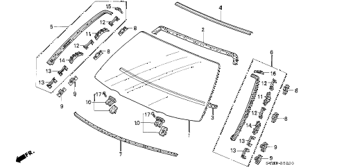 1995 accord LX(ABS) 2 DOOR 5MT FRONT WINDSHIELD diagram