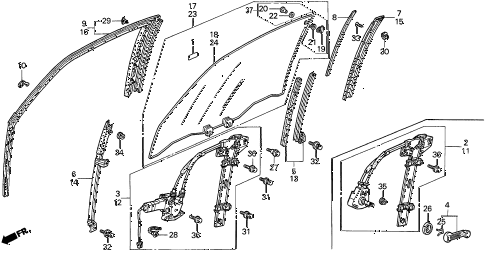 1995 accord LX 2 DOOR 5MT DOOR WINDOW diagram
