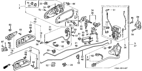 1996 accord LX(ABS) 2 DOOR 5MT DOOR LOCK diagram