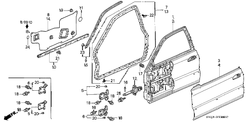 1994 accord LX 2 DOOR 5MT DOOR PANEL diagram