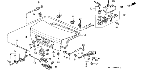 1994 accord LX(ABS) 2 DOOR 4AT TRUNK LID (1) diagram