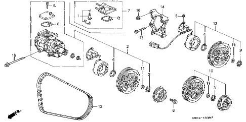 1996 accord EX(LEATHER) 2 DOOR 5MT A/C COMPRESSOR (DENSO) diagram