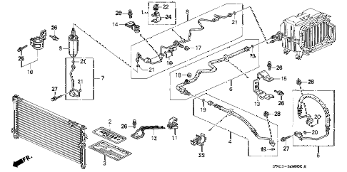 1994 accord EX(LEATHER) 2 DOOR 4AT A/C HOSES - PIPES diagram