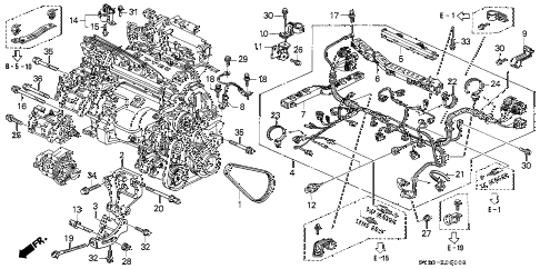 1994 accord EX 2 DOOR 4AT ENGINE WIRE HARNESS - CLAMP diagram