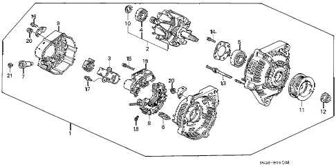 1994 accord LX(ABS) 2 DOOR 5MT ALTERNATOR (DENSO) diagram