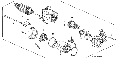 1995 accord LX 2 DOOR 5MT STARTER MOTOR (DENSO) diagram