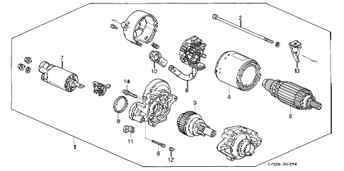 1994 accord LX(ABS) 2 DOOR 4AT STARTER MOTOR (MITSUBA) diagram