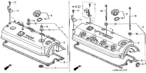 1994 accord EX(LEATHER) 2 DOOR 5MT CYLINDER HEAD COVER diagram