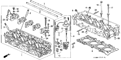 1995 accord EX(LEATHER) 2 DOOR 5MT CYLINDER HEAD (2) diagram