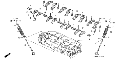 1995 accord LX 2 DOOR 5MT VALVE - ROCKER ARM (1) diagram