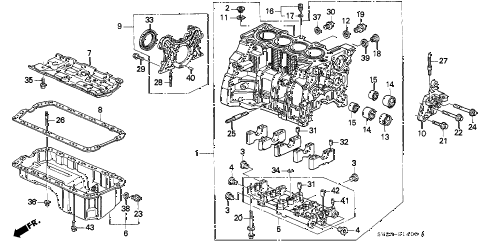 1994 accord EX 2 DOOR 4AT CYLINDER BLOCK - OIL PAN diagram