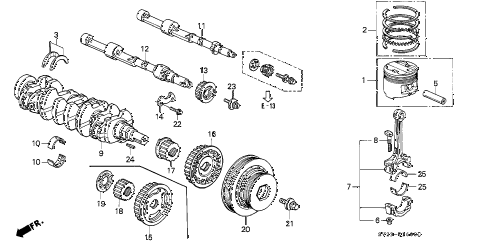 1994 accord EX(LEATHER) 2 DOOR 5MT CRANKSHAFT - PISTON diagram
