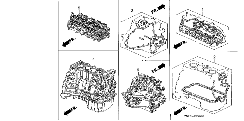 1996 accord LX(ABS) 2 DOOR 4AT GASKET KIT - ENGINE ASSY.  - TRANSMISSION ASSY. diagram