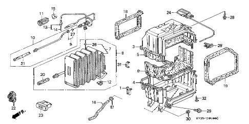 1994 accord DX(ABS) 2 DOOR 5MT A/C COOLING UNIT (DX) diagram