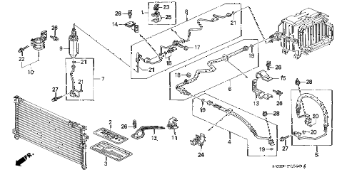1994 accord DX 2 DOOR 4AT A/C HOSES - PIPES (DX) diagram