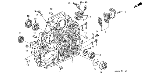 1996 accord LX 4 DOOR 4AT AT TORQUE CONVERTER HOUSING diagram