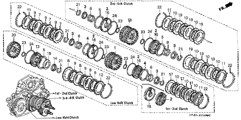 1995 accord DX(ABS) 4 DOOR 4AT AT CLUTCH diagram