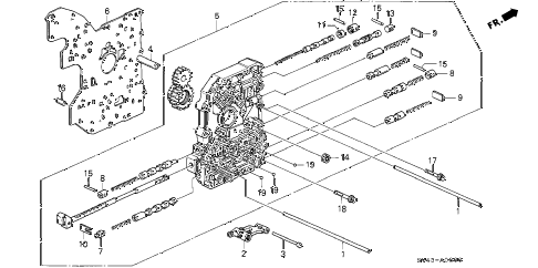 1994 accord LX(ABS) 4 DOOR 4AT AT MAIN VALVE BODY diagram