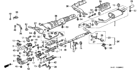 1994 accord EX(LEATHER) 4 DOOR 5MT EXHAUST PIPE (1) diagram