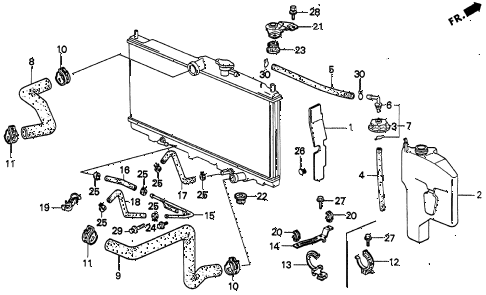 1996 accord DX   2(ANNIVERSARY ED 4 DOOR 4AT RADIATOR HOSE diagram