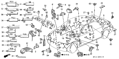 1996 accord LX 4 DOOR 5MT WIRE HARNESS diagram