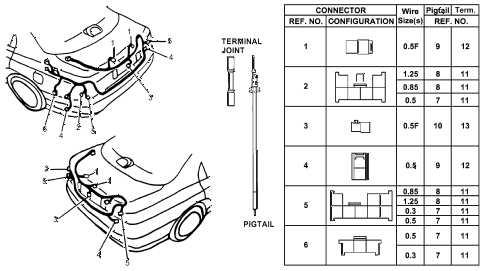 1994 accord LX 4 DOOR 5MT ELECTRICAL CONNECTORS (RR.) diagram