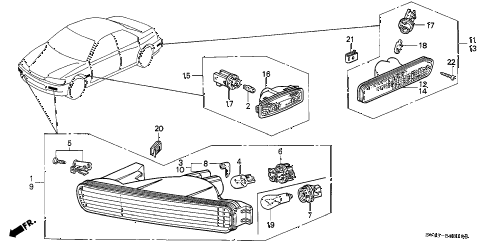 1994 accord LX(ABS) 4 DOOR 4AT FRONT COMBINATION LIGHT diagram