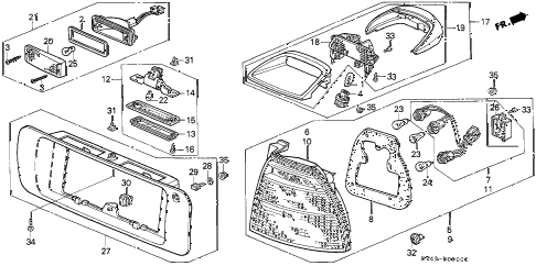1994 accord LX 4 DOOR 4AT TAILLIGHT (1) diagram