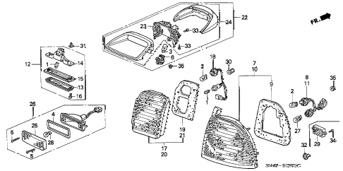 1997 accord EX(LEATHER) 4 DOOR 5MT TAILLIGHT (2) diagram