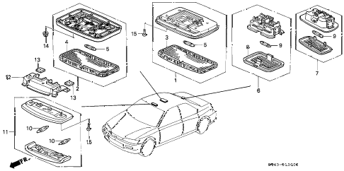 1997 accord EX(LEATHER) 4 DOOR 4AT INTERIOR LIGHT diagram
