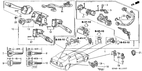 1995 accord LX(ABS) 4 DOOR 5MT COMBINATION SWITCH (1) diagram