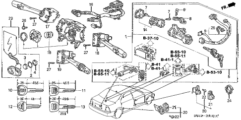 1996 accord DX 4 DOOR 4AT COMBINATION SWITCH (2) diagram