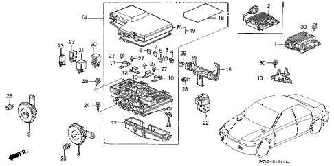 1996 accord DX 4 DOOR 5MT CONTROL UNIT (ENGINE ROOM) diagram