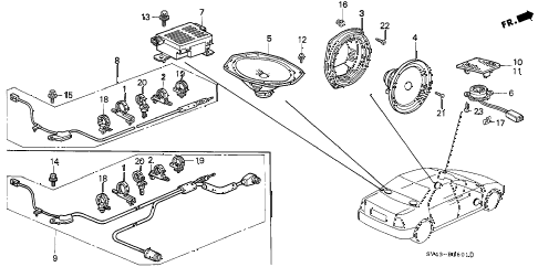 1996 accord EX 4 DOOR 4AT RADIO ANTENNA - SPEAKER (2) diagram
