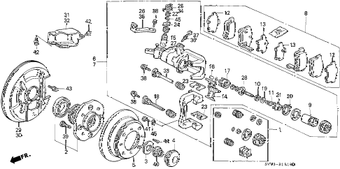 1996 accord LX(ABS) 4 DOOR 5MT REAR BRAKE (NISSIN) diagram