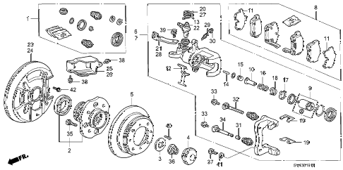 1997 accord EX(LEATHER) 4 DOOR 4AT REAR BRAKE (AMBRAKE) diagram