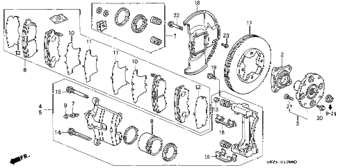1996 accord EX 4 DOOR 4AT FRONT BRAKE (1) diagram